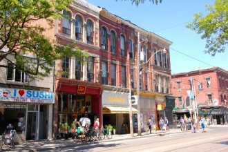 Queen Street West, a popular shopping street in Toronto, ON